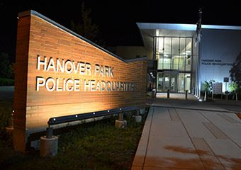 Hanover Park Police Headquarters front at night