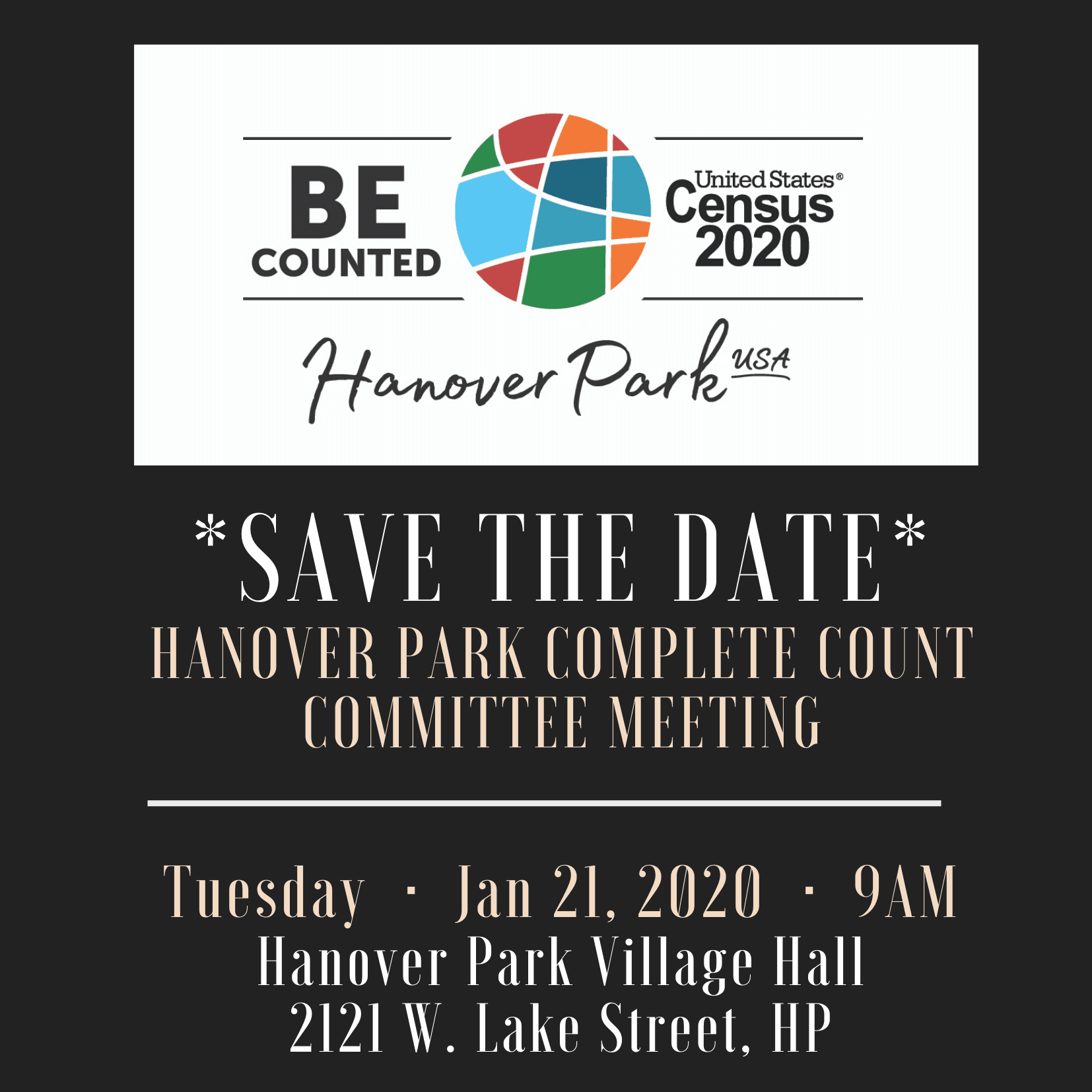 SAVE THE DATE Hanover Park Complete count committee meeting flyer